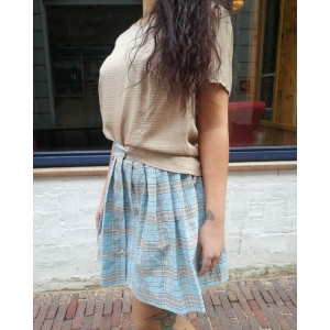 Vintage top - blouse met glanzend ruit-patroon (MT S/M)