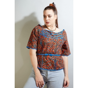Vintage Batik top met rits aan de achterkant (MT L/XL)
