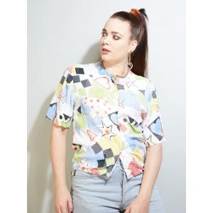 Vintage blouse met speelse print (MT S)