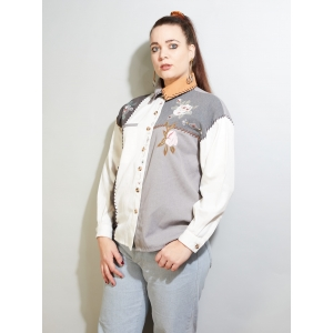 Vintage blouse met borduursel (MT S/M)
