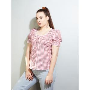 Vintage blouse geruit met pofmouw (MT S/M)