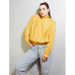 Vintage blouse met opstaande kraag 100% zijde (MT M/L)