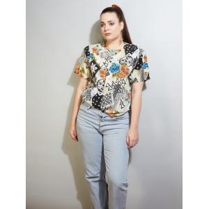 Vintage blouse - top met speels patroon (MT M/L)