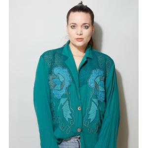 Vintage blouse met grote bloem- applicatie (MT M/L)