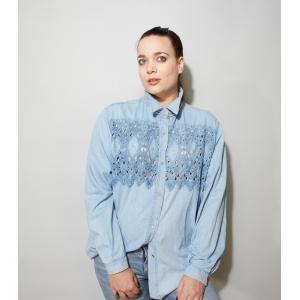Vintage denim blouse met opengewerkt kant (MT L)