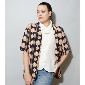 Vintage blouse 2-laags met parelketting (mt XL/XXL)