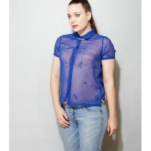 Doorzichtige vintage blouse met geborduurde bloemetjes (MT M/L)