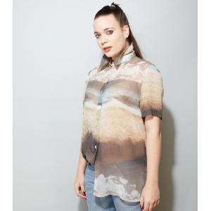 Doorzichtige vintage blouse met strand tafereel (MT M/L)