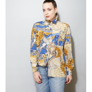 Vintage blouse met abstracte print (MT M/L)
