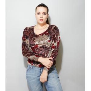 Vintage top velvet/fluweel met speelse Paisley print (M/L)