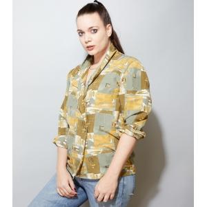Vintage blouse/blazer met abstract patroon (MT L/XL)