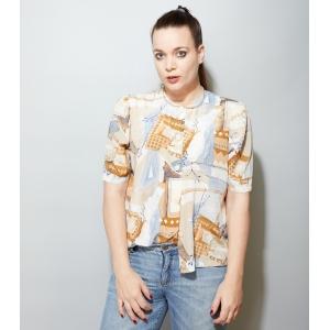 Vintage blouse met abstracte print (MT L)