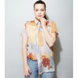 Doorzichtige vintage blouse met speelse print (MT L)