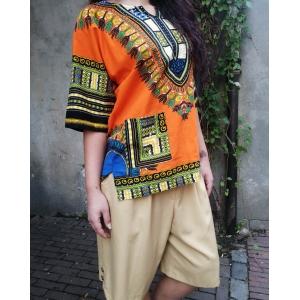 Vintage top - blouse met kleurrijke print (MT M/L)