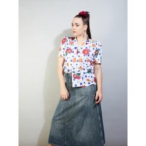 Vintage blouse met polkadots en bloemen  (MT L/XL)