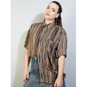 Vintage blouse met verticale strepen (MT L)