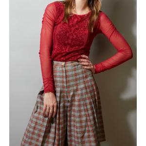 Vintage mesh top met fluwelen patroon (MT S/M)
