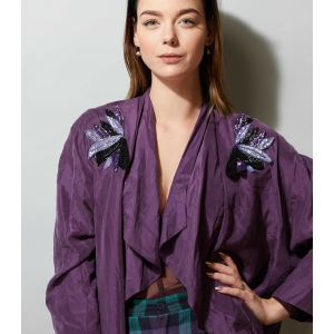 Vintage blouse pailletten elementen (MT M/L)