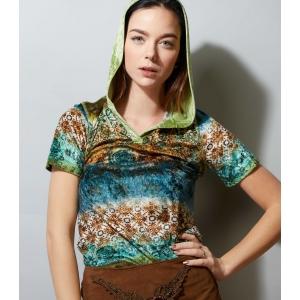Vintage top - shirt van velvet/fluweel met capuchon (MT S/M)