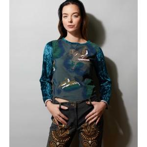 Vintage top - shirt velvet/fluweel met kralen bezet (MT S)