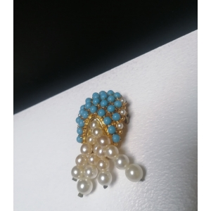 Vintage broche met blauwe ingelegde steentjes en pareltjes
