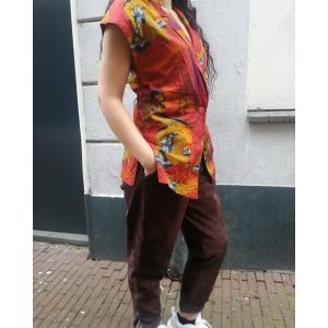 Vintage blouse met speels patroon (MT S/M)