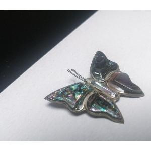 Vintage broche zilveren vlinder met parelmoer