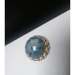 Elegante vintage broche blauw - goudkleurig
