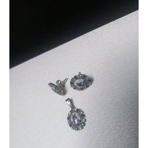 Vintage delfts blauw paar oorbellen en hanger