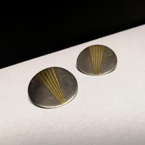 Vintage statement oorclips zilver - goudkleurig