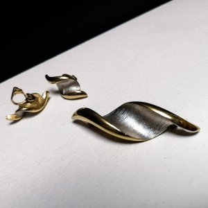 Set vintage oorclips met bijpassende broche
