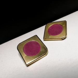 intage statement oorclips goud - roze kleurig